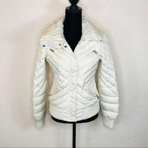 Guess Ivory Puffer Jacket Coat Size Small